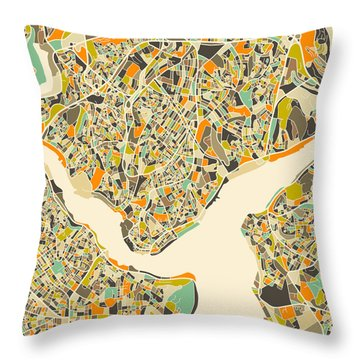 Istanbul Map Throw Pillow by Jazzberry Blue