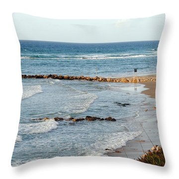 Jaffa Beach 7 Throw Pillow by Isam Awad