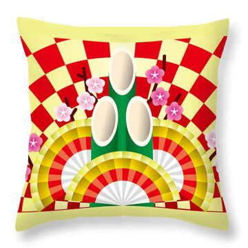 Japanese Newyear Decoration Throw Pillow