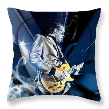 Joe Bonamassa Blues Guitarist Art Throw Pillow by Marvin Blaine