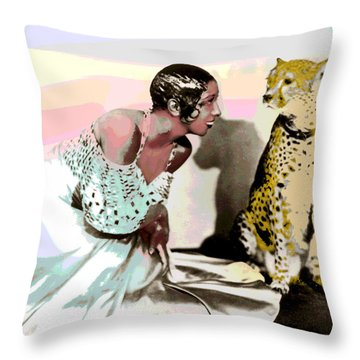 Throw Pillow featuring the mixed media Josephine Baker by Charles Shoup