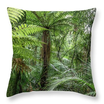 Throw Pillow featuring the photograph Jungle Ferns by Les Cunliffe