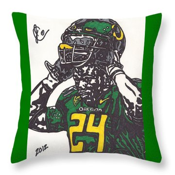 Throw Pillow featuring the drawing Kenjon Barner 1 by Jeremiah Colley