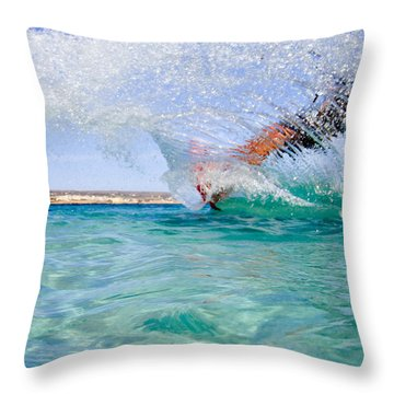 Kitesurfing Throw Pillow by Stelios Kleanthous