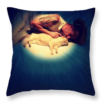 Kitty Cuddles Throw Pillow