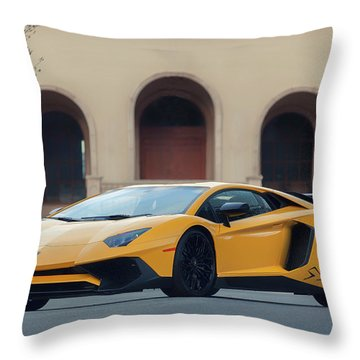 Throw Pillow featuring the photograph #lamborghini #aventadorsv #superveloce #print by ItzKirb Photography