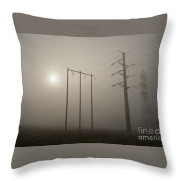 Large Transmission Towers In Fog Throw Pillow