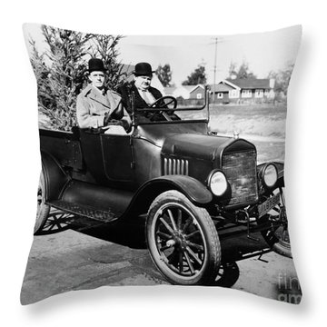Laurel And Hardy Throw Pillow by Granger
