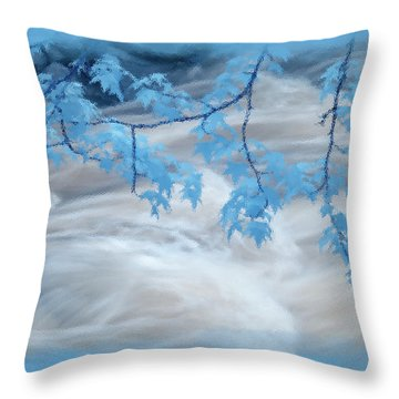 Leaves Over Gossamer Waters Throw Pillow