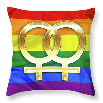 Lesbian Symbols Throw Pillow