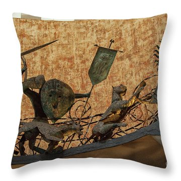 Throw Pillow featuring the photograph Lighthouse Hotel, Galle Sri Lanka. Entrance With Sinhalese Warri by Patricia Hofmeester