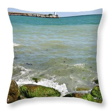 Lighthouse In Sea Throw Pillow