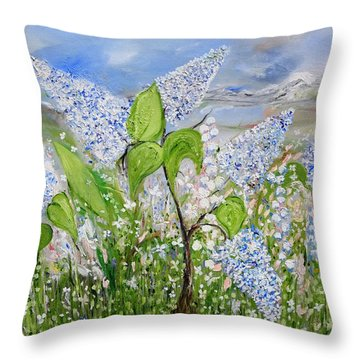 Lilac Scent Throw Pillow by Evelina Popilian
