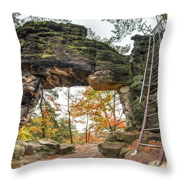 Throw Pillow featuring the photograph Little Pravcice Gate - Famous Natural Sandstone Arch by Michal Boubin