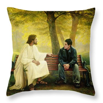 Throw Pillow featuring the painting Lost And Found by Greg Olsen