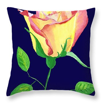 Throw Pillow featuring the painting Love In Bloom by Rodney Campbell