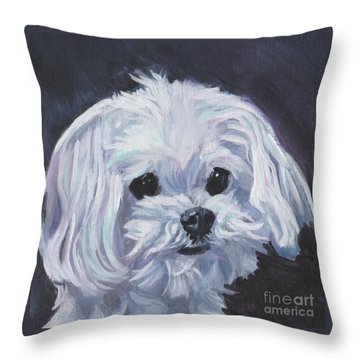 Throw Pillow featuring the painting Maltese by Lee Ann Shepard
