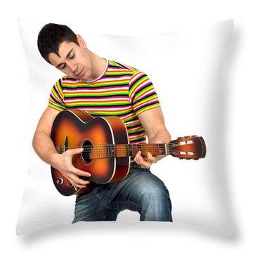 Man Playing The Guitar Throw Pillow