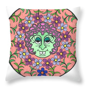 Goofy Green Witch Throw Pillow