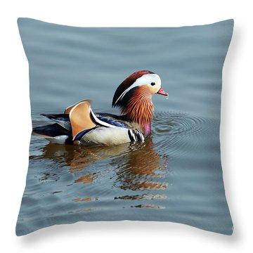 Throw Pillow featuring the photograph Mandarin Duck by Michal Boubin