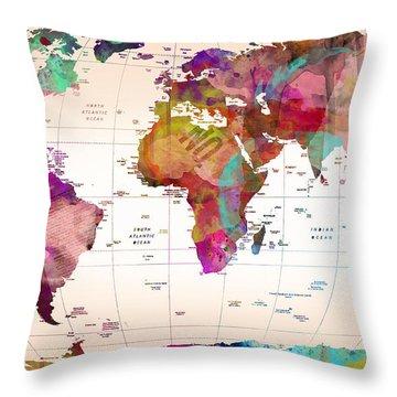 Dinosaur Map Throw Pillows