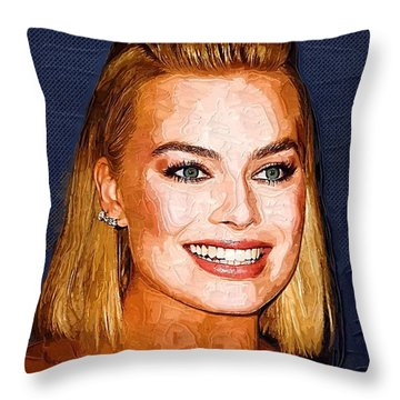 Margot Robbie Art Throw Pillow by Best Actors