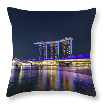 Marina Bay Sands And The Artscience Museum In Singapore Throw Pillow