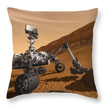 Mars Rover Curiosity, Artists Rendering Throw Pillow by NASA/Science Source