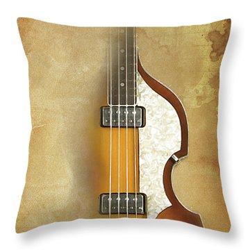 Mccartney Hofner Bass, Vintage Background, Gift For Musicians, Inspirational Quote Throw Pillow