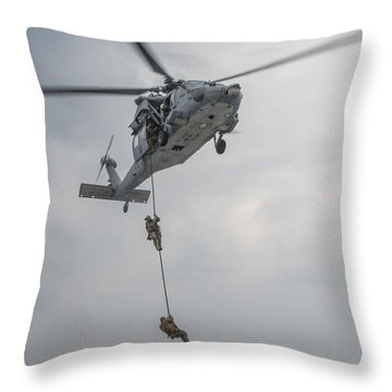 Mh-60s Sea Hawk Helicopter Us Navy Throw Pillow
