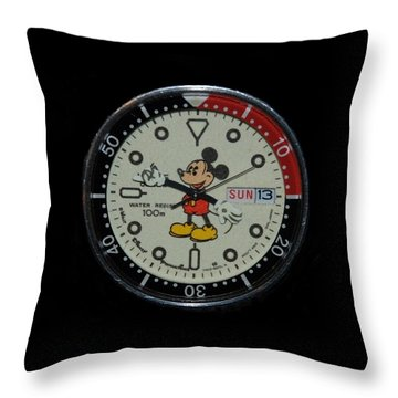 Mickey Mouse Watch Face Throw Pillow