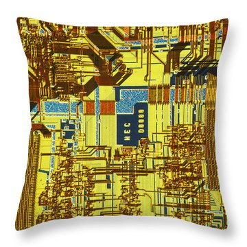 Microprocessor Throw Pillow by Michael W. Davidson