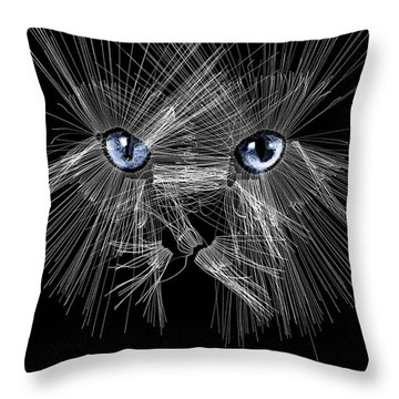 Mister Whiskers Throw Pillow by ISAW Gallery