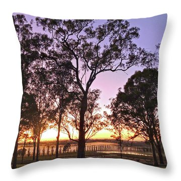 Misty Rural Scene With Dam And Trees Throw Pillow