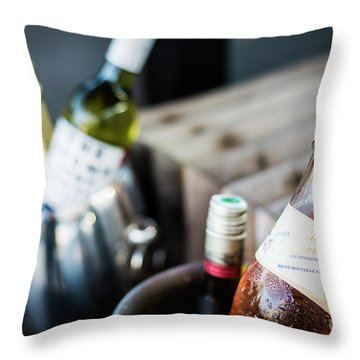 Mixed Bottles Of Gourmet Wine In Ice Chiller Bucket Throw Pillow