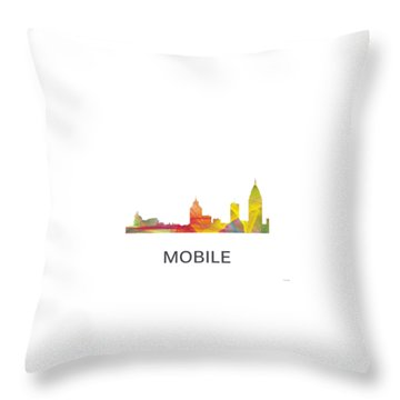 Mobile Alabama Skyline Throw Pillow