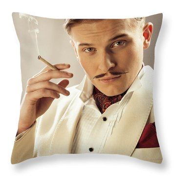 Model Playing Errol Flynn Character Throw Pillow