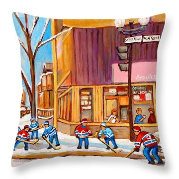 Montreal Paintings Throw Pillow by Carole Spandau