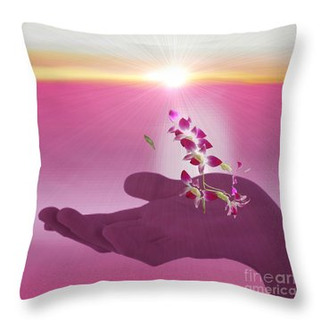 Morning Glory Throw Pillow by Belinda Threeths