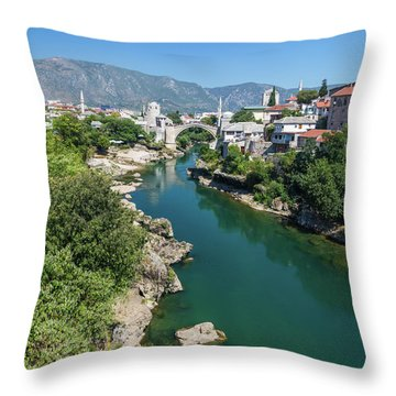 Mostar Skyline At Night Throw Pillow