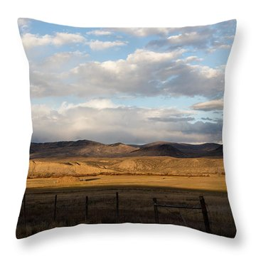 Mountain Meadow And Hay Bales In Grand County Throw Pillow by Carol M Highsmith