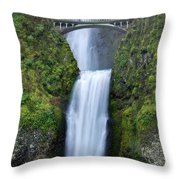 Multnomah Falls Waterfall Oregon Columbia River Gorge Throw Pillow by Dustin K Ryan