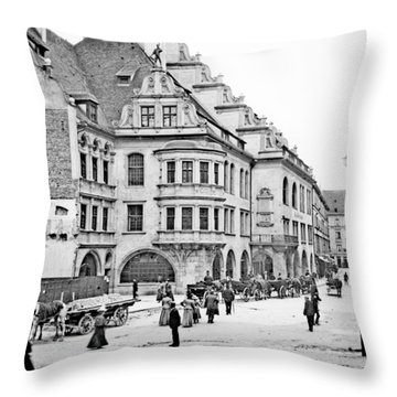 Throw Pillow featuring the photograph Munich Germany Street Scene 1903 Vintage Photograph by A Gurmankin