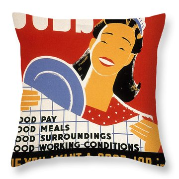 New Deal: Wpa Poster Throw Pillow by Granger