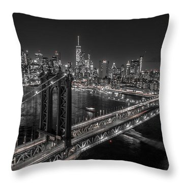 Throw Pillow featuring the photograph New York City, Manhattan Bridge At Night by Petr Hejl