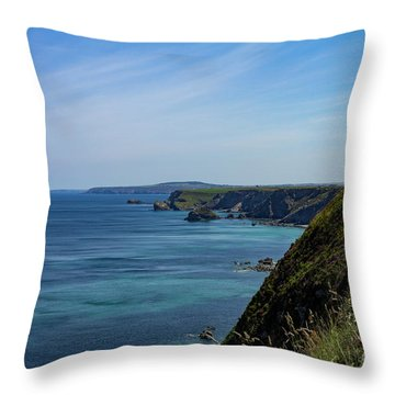 Throw Pillow featuring the photograph North Coast Cornwall by Brian Roscorla