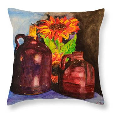 2 Old Jugs 1.. Throw Pillow by Melvin Turner