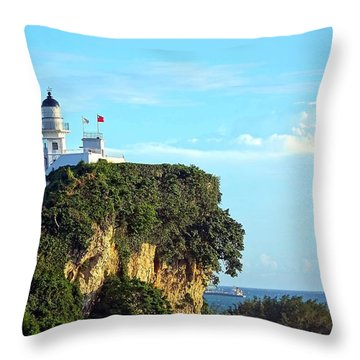 Throw Pillow featuring the photograph Old Lighthouse Overlooking Kaohsiung Harbor by Yali Shi