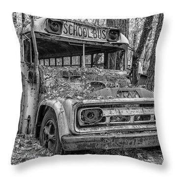 Old School Bus Throw Pillow