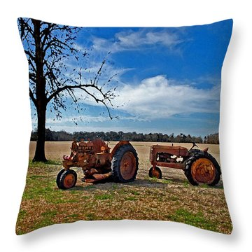2 Old Tractors And The Tree Throw Pillow by Michael Thomas